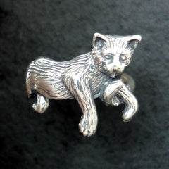 Pretty kitty ring in silver or 14k gold