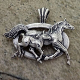 Mare and Foal running in silver