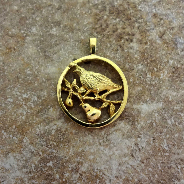 Partridge in Pear Tree Circle Pendant handmade in Sterling or 14k Gold by Tosa Fine Jewelry