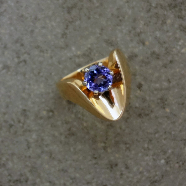 Tanzanite ring, 14k gold European shank handmade in USA by Jan David Jewelers