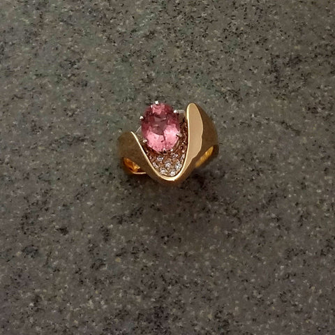 Tourmaline ring Pink Pave Diamonds 14k Jan David handmade USA