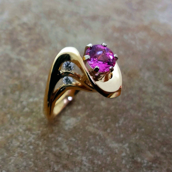 14k Gold and Pink Sapphire Custom Designer Ring
