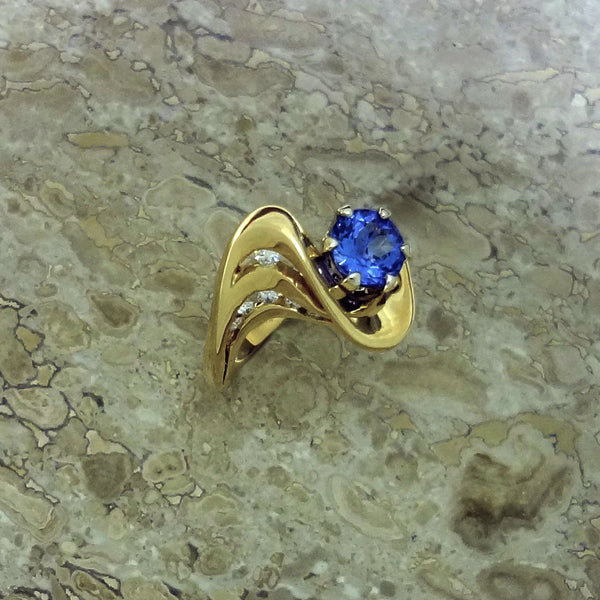 Tanzanite Ring 14k Diamonds handmade USA Jan David Jewelry