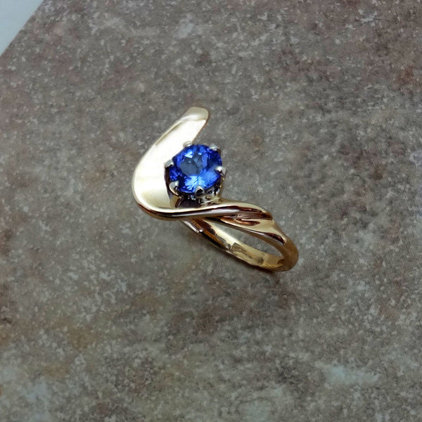 Diamond Tanzanite ring 14k gold swirl Handmade in USA by Jan David Jewelry