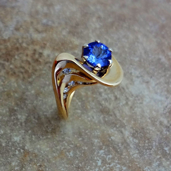Tanzanite Diamond ring 14k gold handmade in USA by Jan David Jewelers