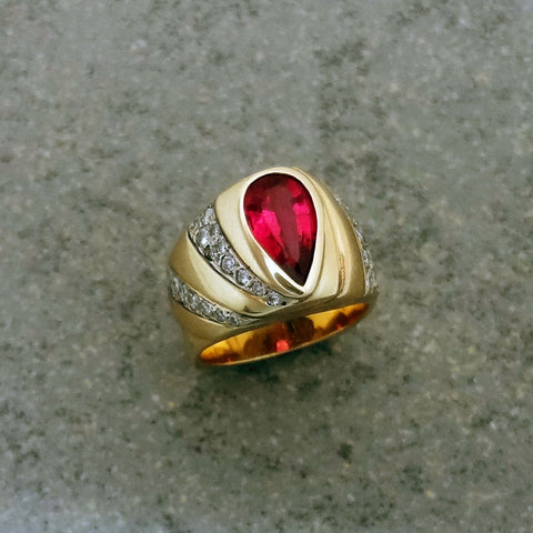 Tourmaline, Pink, Ring with Diamonds in 14k gold handmade in USA by Jan David.