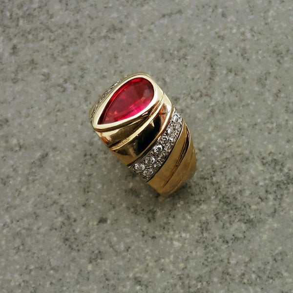 14k fine jewelry ring with Tourmaline and Diamonds  Handmade in USA by Jan David.