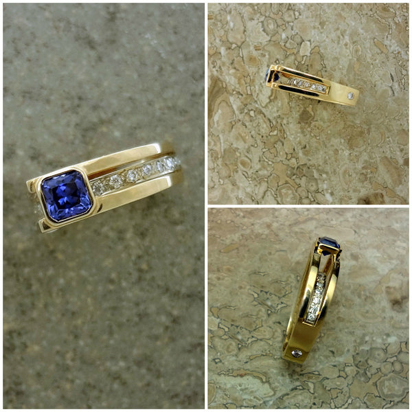 Tanzanite ring with diamond under bar set in 14k gold.  Handmade in USA.