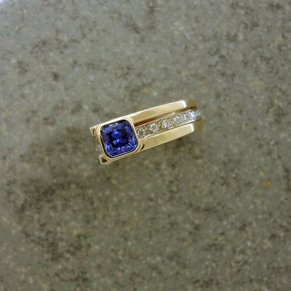 14k gold Diamond ring with bezel set Tanzanite, DIY available.  Handmade in the USA.