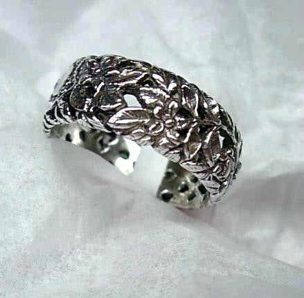 Flower and Vine Ring handmade in Sterling or 14k Gold by Tosa Fine Jewelry