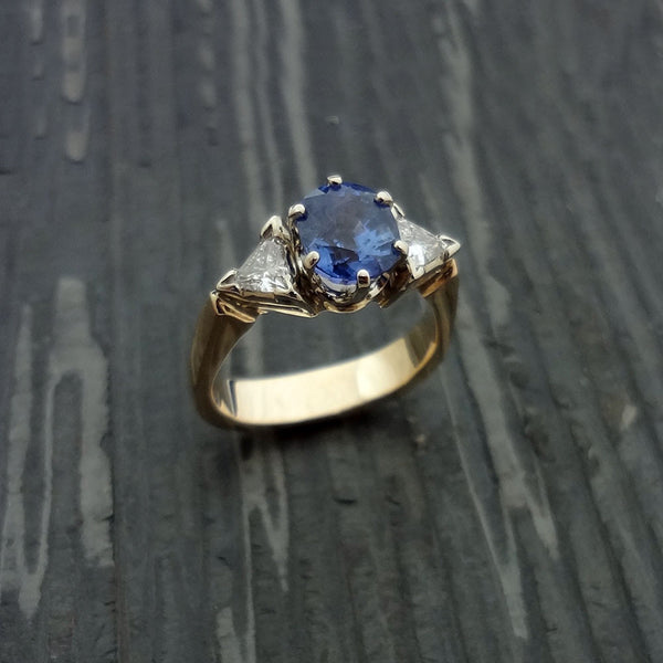 Sapphire ring in 14k gold with 2 diamonds.  Handmade in USA.
