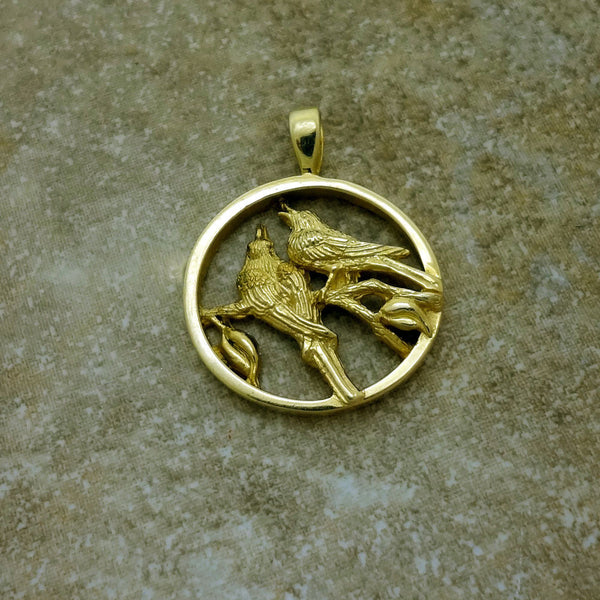 Two Doves Friendship Circle Pendant handmade in Sterling or 14k Gold by Tosa Fine Jewelry
