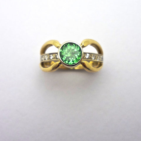 Tsavorite Garnet and Diamond Designer Ring