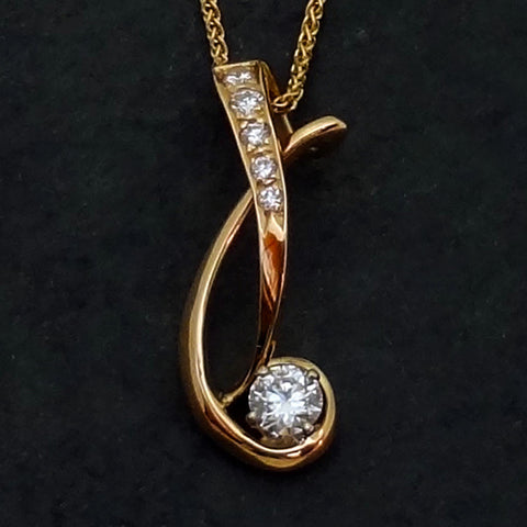 Diamond pendant, necklace 14k gold custom handmade jewelry by Jan David USA