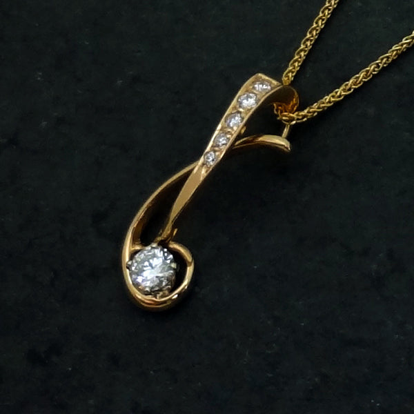 14k gold Diamond Pendant handmade jewelry by Jan David USA