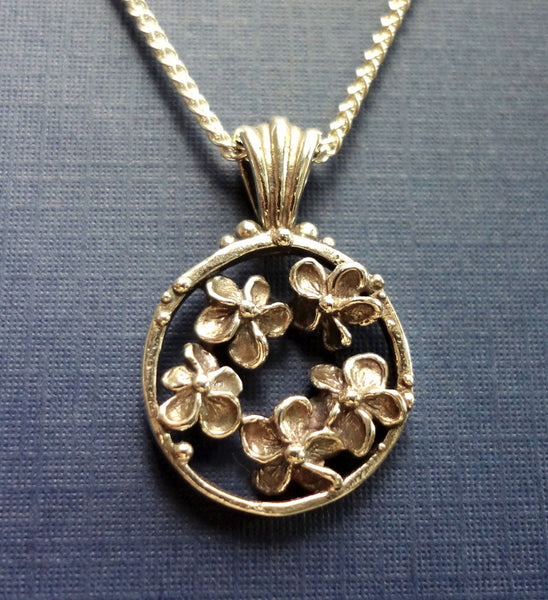 Plumeria Flower Circle Pendant handmade in Sterling or 14k Gold by Tosa Fine Jewelry