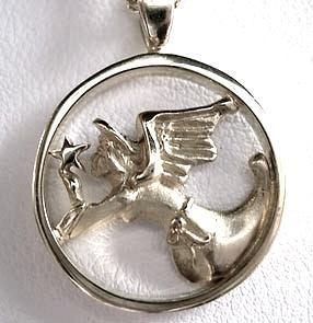 Guardian Angel and Star Pendant handmade in Sterling or 14k gold by All Animal Jewelry