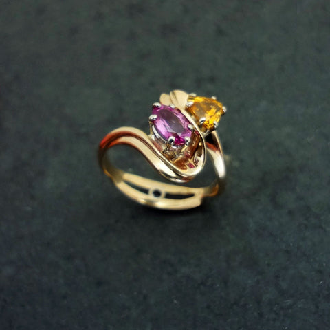 Sapphire ring, Yellow Pink Ceylon Diamond in 14k gold Handmade USA Jan David Jewelers