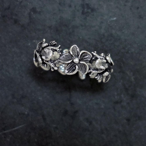 Frog Plumeria Flower Ring handmade in Sterling or 14k Gold by All Animal Jewelry