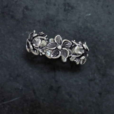 Frog Plumeria Flower Ring handmade in Sterling or 14k Gold by Tosa Fine Jewelry