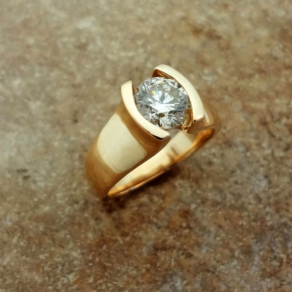 Nelson Diamond solitaire ring, 14k gold Jan David handmade USA