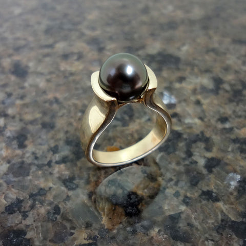 14k Gold Black Tahitian Pearl Ring