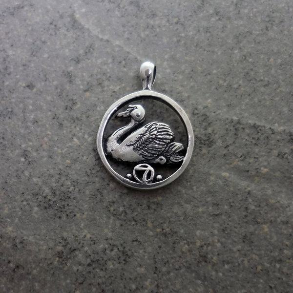 Seven Swans a Swimming Circle Pendant handmade in Sterling or 14k Gold by Tosa Fine Jewelry