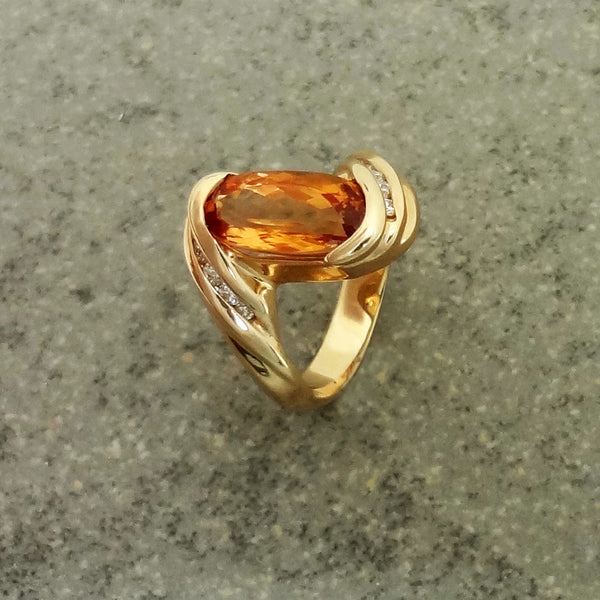 Precious Topaz  Diamond ring 14k gold. Golden Honey Jan David, USA