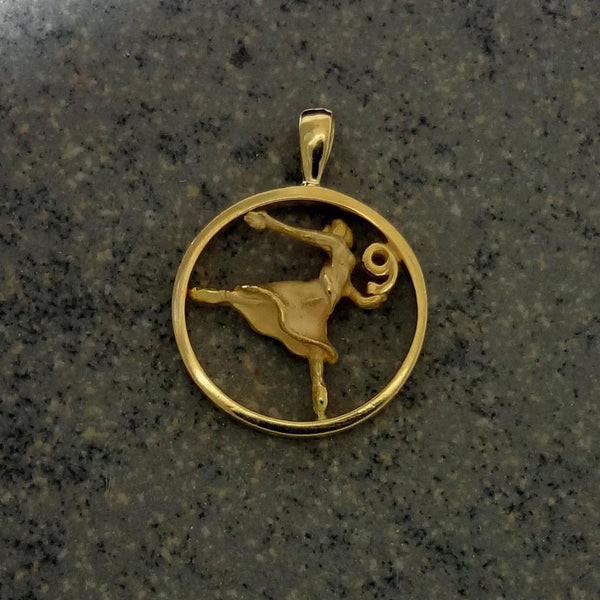Nine Ladies Dancing Pendant handmade in Sterling or 14k Gold by All Animal Jewelry