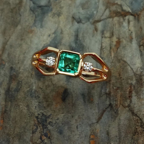 Emerald ring 18k bezel, 14k Diamonds handmade USA Jan David Jewelry