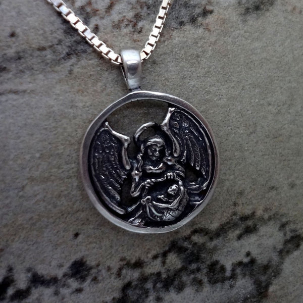 Guardian Angel of Infants and Children Circle Pendant handmade in Sterling or 14k gold by All Animal Jewelry