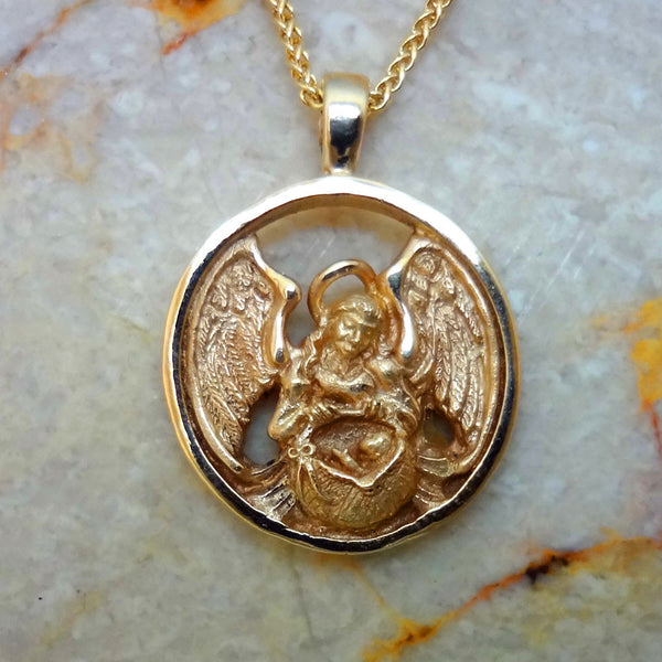 Guardian Angel of Infants and Children Circle Pendant handmade in Sterling or 14k gold by Tosa Fine Jewelry