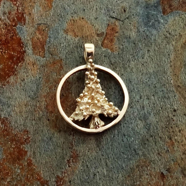 Christmas Tree Circle Pendant handmade in Sterling or 14k Gold by All Animal Jewelry