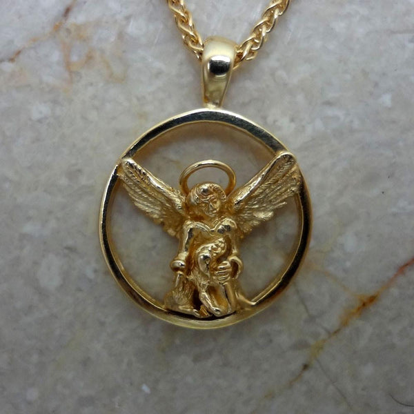 Guardian Angel for Dogs Pendant handmade in Sterling or 14k Gold by All Animal Jewelry