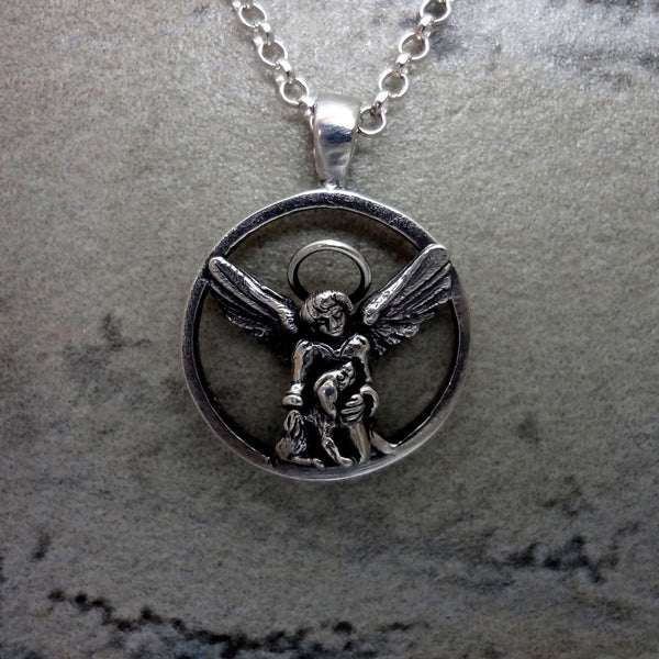 Guardian Angel for Dogs Pendant - Handmade in 14k Gold or Sterling Silver