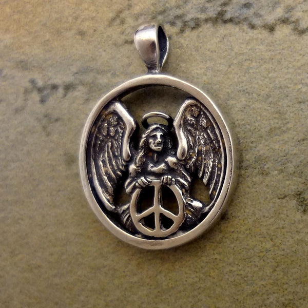 Peace Angel Pendant handmade in Sterling or 14k gold by All Animal Jewelry