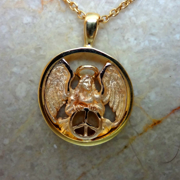 Peace Angel Circle Pendant handmade in Sterling or 14k gold by Tosa Fine Jewelry