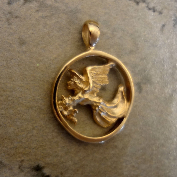 Guardian Angel for Cats, Pendant handmade in Sterling or 14k Gold by Tosa Fine Jewelry