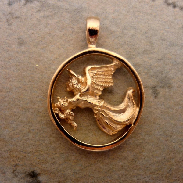 Guardian Angel for Cats, Pendant handmade in Sterling or 14k Gold by All Animal Jewelry