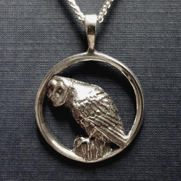 Barn Owl Circle Pendant handmade in Sterling or 14k gold by Tosa Fine Jewelry