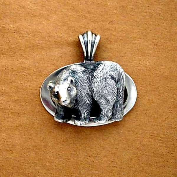 Bear Oval Pendant - Handmade in 14k Gold or Sterling Silver
