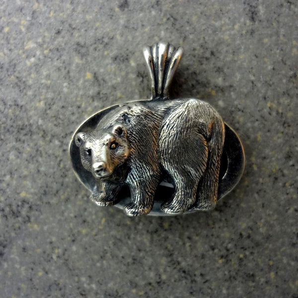 Grizzly Bear Brown Bear Oval Pendant handmade in Sterling or 14k gold by All Animal Jewelry