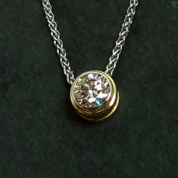 14k gold pendant, Tourmaline trillion, 3.28ct, Diamonds, 0.15tcw.  Custom design, handmade in USA.