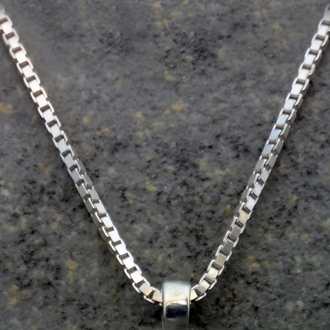 Our Box chains are available in sterling silver or 14kt gold and in a variety of sizes.  Perfect accessory to any of our pendants.