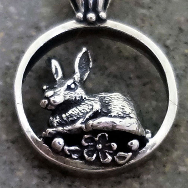 Bunny Rabbit Pendant - Handmade in 14k Gold or Sterling Silver