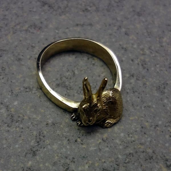 Bunny Rabbit Ring handmade in Sterling or 14k Gold by All Animal Jewelry