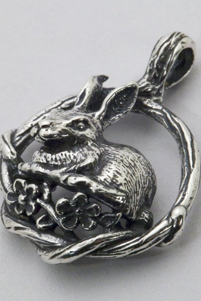 bunny rabbit pendant, handmade by all animal jewelry