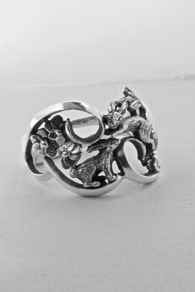 New Item!  Double Bunny Rabbit Ring Hand Made in Sterling or Gold