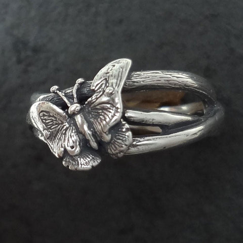 Butterfly Ring handmade in Sterling or 14k Gold by All Animal Jewelry