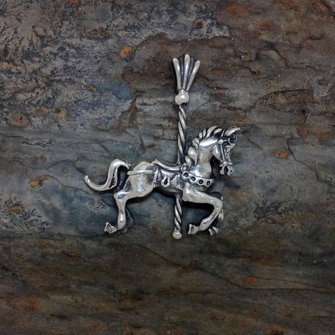 Carousel Horse Pendant handmade in Sterling or 14k Gold by All Animal Jewelry